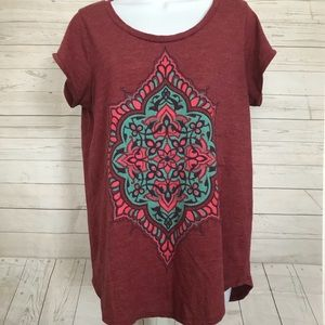 Lucky Brand Women's Sz L Cap Sleeve Graphic Top